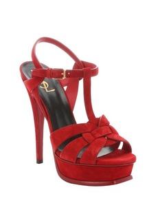 Saint Laurent red suede 'Tribute' t-strap platform sandals