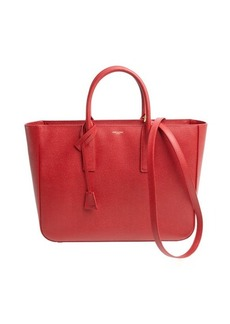 Saint Laurent rosso leather shopping tote