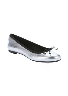 Saint Laurent silver and black metalic leather bow detail flats