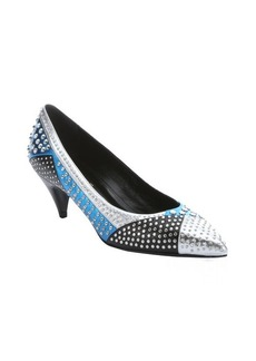 Saint Laurent silver and blue leather studded patchwork kitten heel pumps