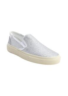 Saint Laurent silver glitter canvas slip on loafers