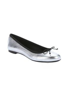 Saint Laurent silver leather bow detail ballerina flats