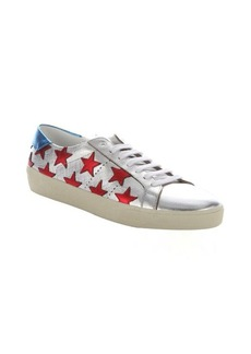 Saint Laurent silver leather star detail lace-up sneakers