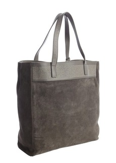 Saint Laurent slate grey suede studded tote bag with removable pouch
