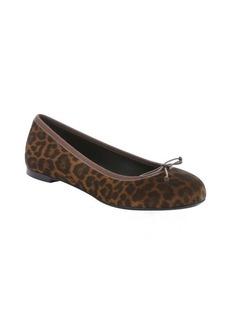 Saint Laurent tan and black leopard print suede bow detail flats