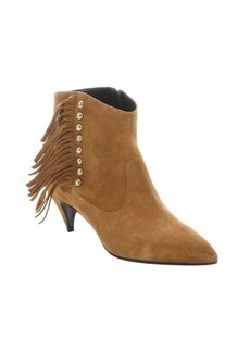 Saint Laurent tan suede studded fringe ankle booties