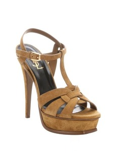 Saint Laurent tan suede 'Tribute' t-strap platform sandals