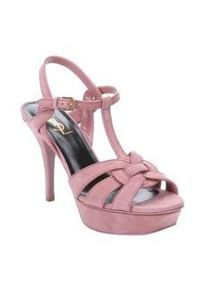 Saint Laurent vieux rose suede 'Tribute' t-strap sandals