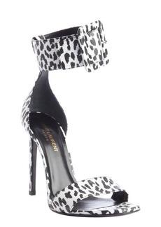 Saint Laurent white and black animal print pattern leather sandals