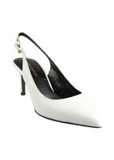 Saint Laurent white leather point toe slingback pumps