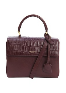 Saint Laurent wine leather embossed accent convertible mini top handle bag