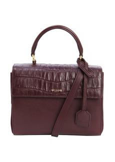 Saint Laurent wine leather embossed accent convertible mini top handle bag