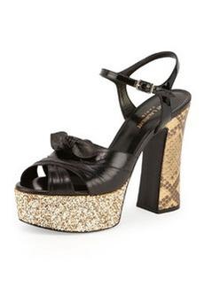 Snakeskin & Glitter Platform Sandal, Natural/Noir   Snakeskin & Glitter Platform Sandal, Natural/Noir