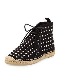 Saint Laurent Studded Canvas High-Top Espadrille Sneaker, Black