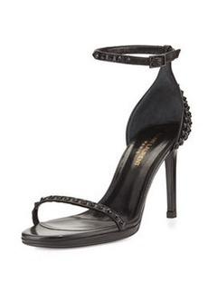 Studded Leather Ankle-Wrap Sandal, Noir   Studded Leather Ankle-Wrap Sandal, Noir