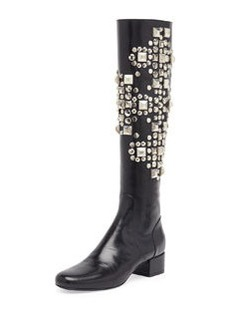Studded Leather Knee Boot, Noir   Studded Leather Knee Boot, Noir