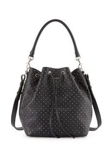Studded Medium Bucket Shoulder Bag, Black   Studded Medium Bucket Shoulder Bag, Black