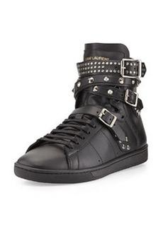 Studded Triple-Buckle High-Top Sneaker, Noir   Studded Triple-Buckle High-Top Sneaker, Noir