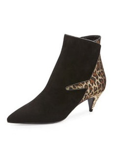 Suede & Leopard Low-Heel Ankle Boot, Black   Suede & Leopard Low-Heel Ankle Boot, Black