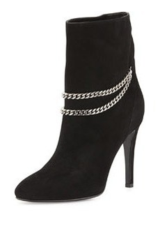 Suede Chain-Strap Ankle Boot   Suede Chain-Strap Ankle Boot