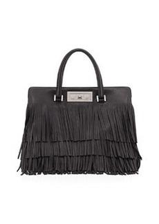 Trois Clous Medium Leather Tote Bag, Black   Trois Clous Medium Leather Tote Bag, Black