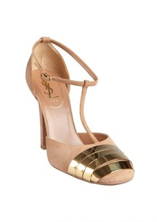 Yves Saint Laurent beige suede and gold banded toe t-straps
