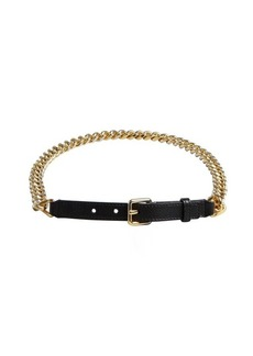 Yves Saint Laurent black and gold leather chain belt