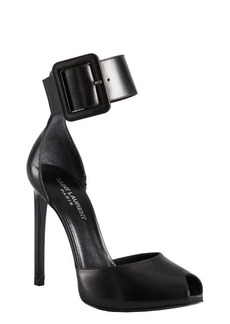 Yves Saint Laurent black leather ankle strap open toe heels