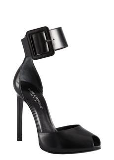 Yves Saint Laurent black leather ankle strap open toe heels