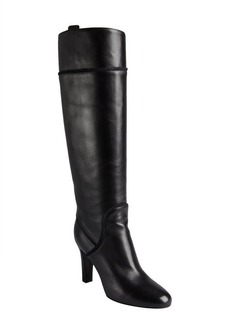 Yves Saint Laurent black leather 'Passy 90' rope trim stacked heel boots