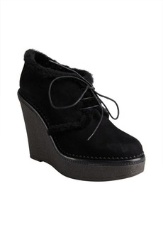 Yves Saint Laurent black suede 'YDA 90' lace up shearling wedges