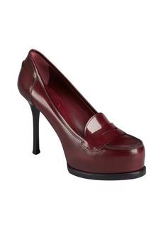 Yves Saint Laurent burgundy leather platform penny loafer pumps