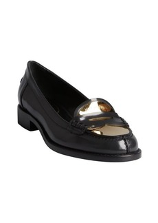 Yves Saint Laurent charcoal glazed leather and gold metal heel loafers
