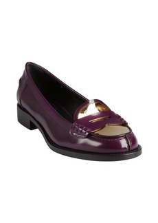 Yves Saint Laurent eggplant glazed leather and gold metal heel loafers