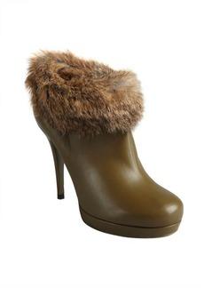 Yves Saint Laurent green leather wild rabbit lined platform booties