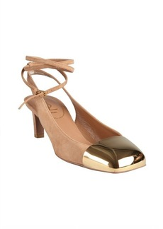 Yves Saint Laurent taupe suede gold cap toe ankle strapped pumps