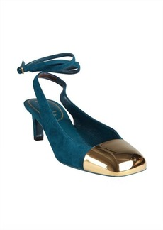Yves Saint Laurent teal suede and gold cap toe ankle strapped pumps
