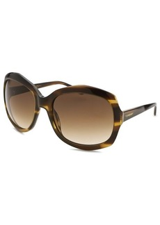 Yves Saint Laurent Women's Oversized Striped Khaki Sunglasses