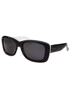 Yves Saint Laurent Women's Rectangle Black and White Sunglasses