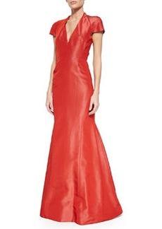 Cap-Sleeve Silk Trumpet Gown, Aurora Red   Cap-Sleeve Silk Trumpet Gown, Aurora Red
