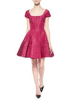 Flounce-Skirt Taffeta Dress, Magenta   Flounce-Skirt Taffeta Dress, Magenta