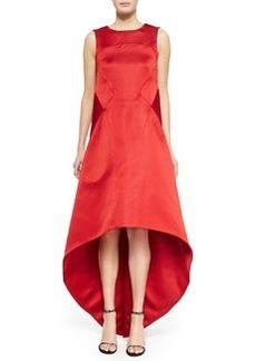 Satin High-Low V-Back Dress, Cardinal   Satin High-Low V-Back Dress, Cardinal