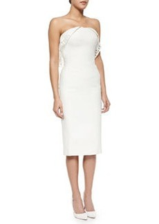 Strapless Geometric-Eyelet Draped Dress, Ivory   Strapless Geometric-Eyelet Draped Dress, Ivory