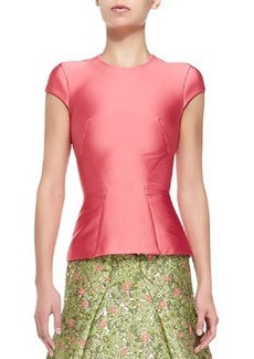 Structured Satin T-Shirt, Coral   Structured Satin T-Shirt, Coral