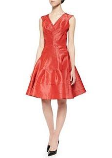 Taffeta Seamed Flounce Dress, Aurora Red   Taffeta Seamed Flounce Dress, Aurora Red