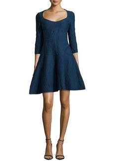 Zac Posen 3/4-Sleeve Bubble-Knit Dress, Emerald