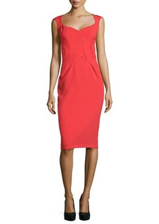 Zac Posen Cap-Sleeve Binding Sheath Dress, Grenadine