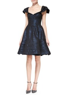 Zac Posen Cap-Sleeve Jacquard Party Dress