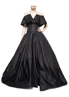 Zac Posen Cape-Overlay Ball Gown, Jet Black