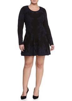 Zac Posen Contrast-Embroidered Flared Skirt Dress, Navy/Black